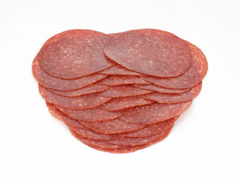 Download Stack Hard Salami Slices stock photo. Image of white - 15265688