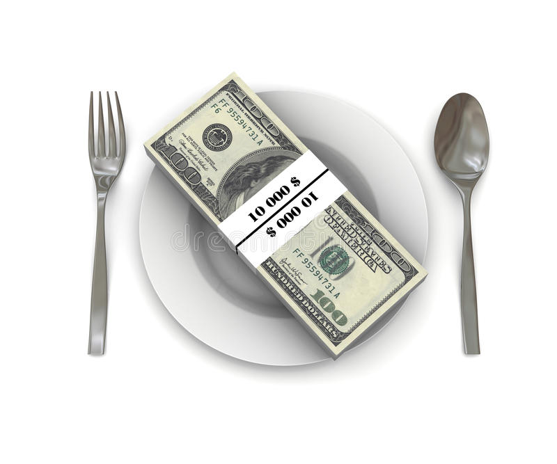 Download Stack Of Hundred Dollar Bills On A Plate Stock Photo - Image: 23774984