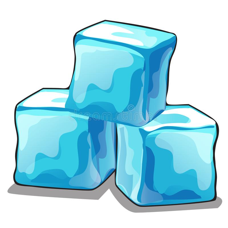 Stack of ice cubes isolated on white background. Vector cartoon close-up illustration. royalty free stock photos