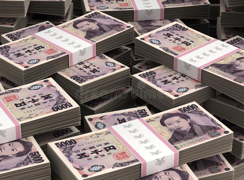 Stack of Japanese Yen stock photos