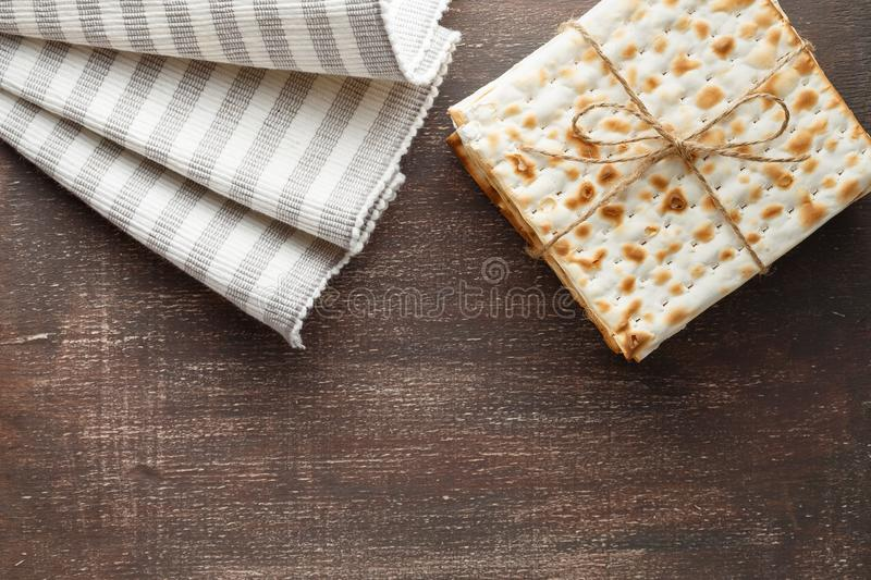 Jewish Matzah bread with wine for Passover holiday stock photo