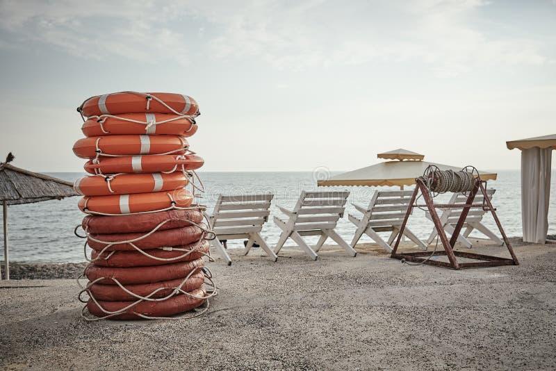 A stack of lifebuoys royalty free stock photos