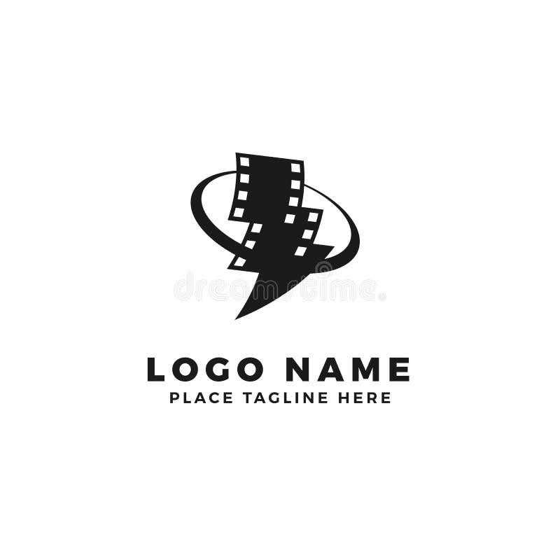 Stack of lightning film strip with circle planet logo brand. thunderbolt movie illustration stock illustration