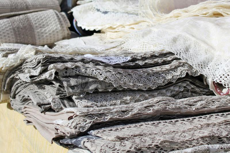 Stack of linen and cotton kitchen towels napkins royalty free stock image