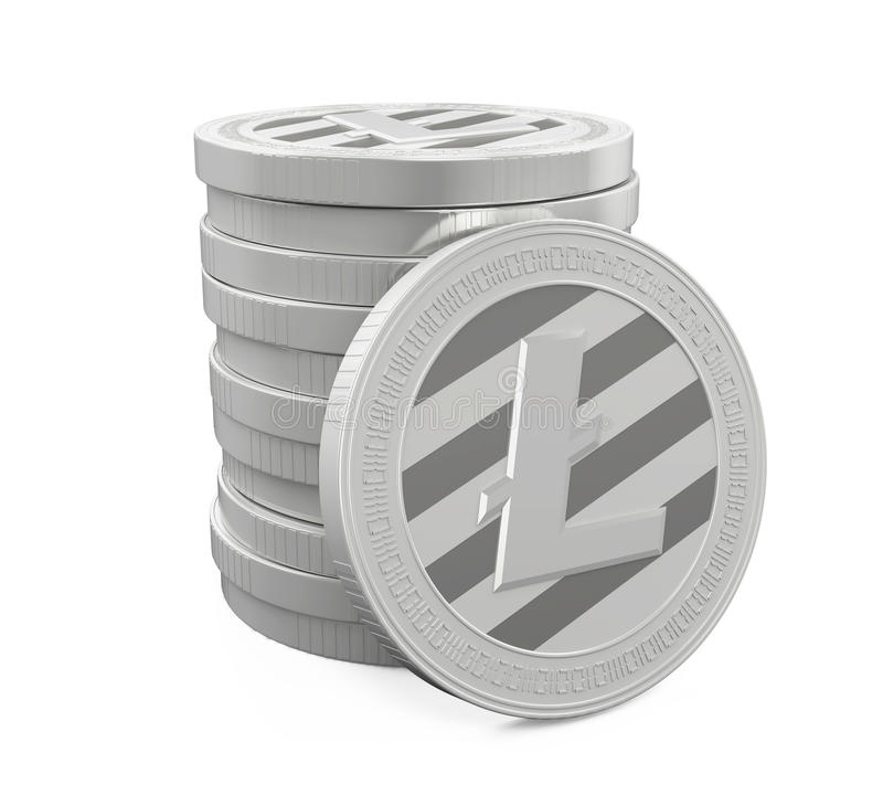 Stack of Litecoins Isolated stock illustration