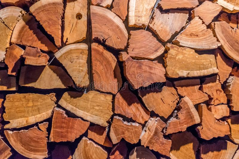 Stack of logs for firewood stock photography