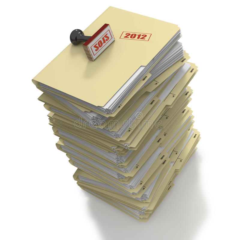 Download Stack Of Manila Office Folders Or Files On White B Stock Illustration - Image: 22823998