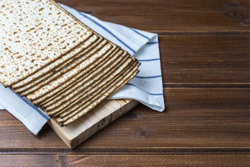 Stack of matzah or matza on a wooden  table royalty free stock images