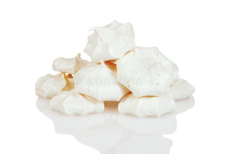 Stack of meringue cookies. Closeup of stack of meringue cookies stock photos