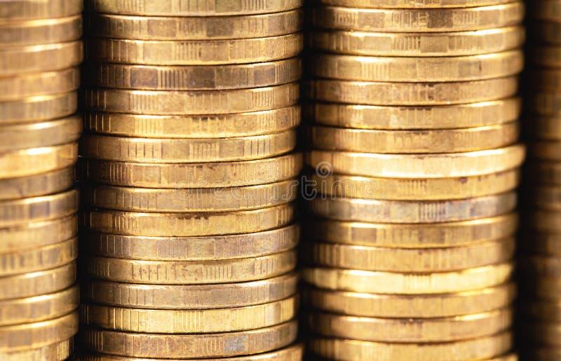 Metal coins. Stack of metal coins closeup macro stock image