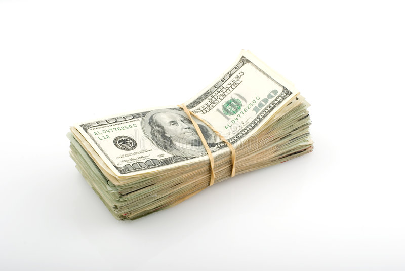 Stack of money. On white background stock photo