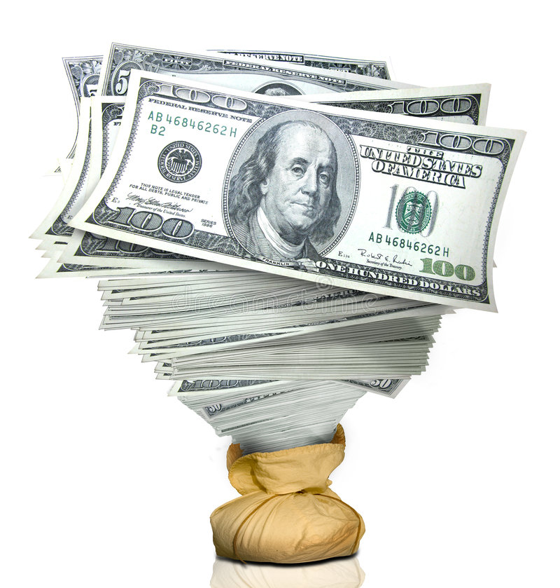 Stack of money. A stack of money rise from a burlap bag royalty free stock photos