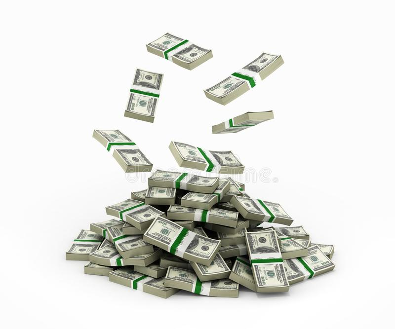 Stack of money american dollar bills falling into a pile 3d royalty free illustration