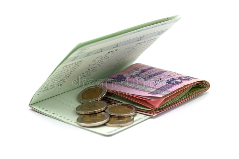 The stack of money with book Bank account. Concepts saving money royalty free stock images