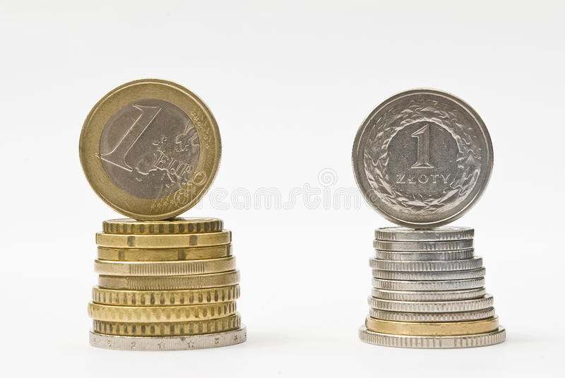 Stack Of Money Euro And Zloty Coins. Currency Rate Comparison Royalty Free Stock Photo - Image ...