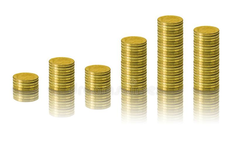 \'Stack of Money, Financial, Business Saving and Interest increasing concept isolated on white background with shadow and. Reflection and clipping path royalty free stock photos