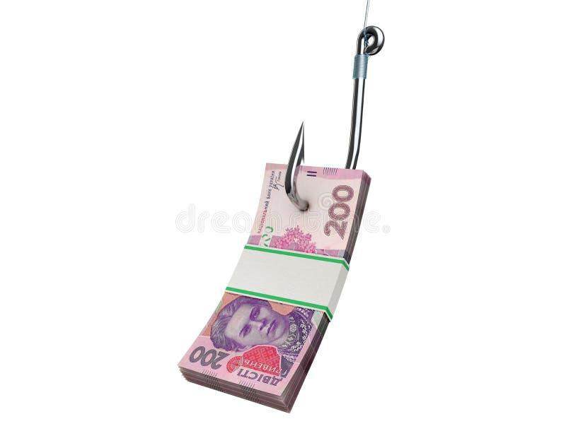 Stack of money on the fishing hook isolated on white stock illustration