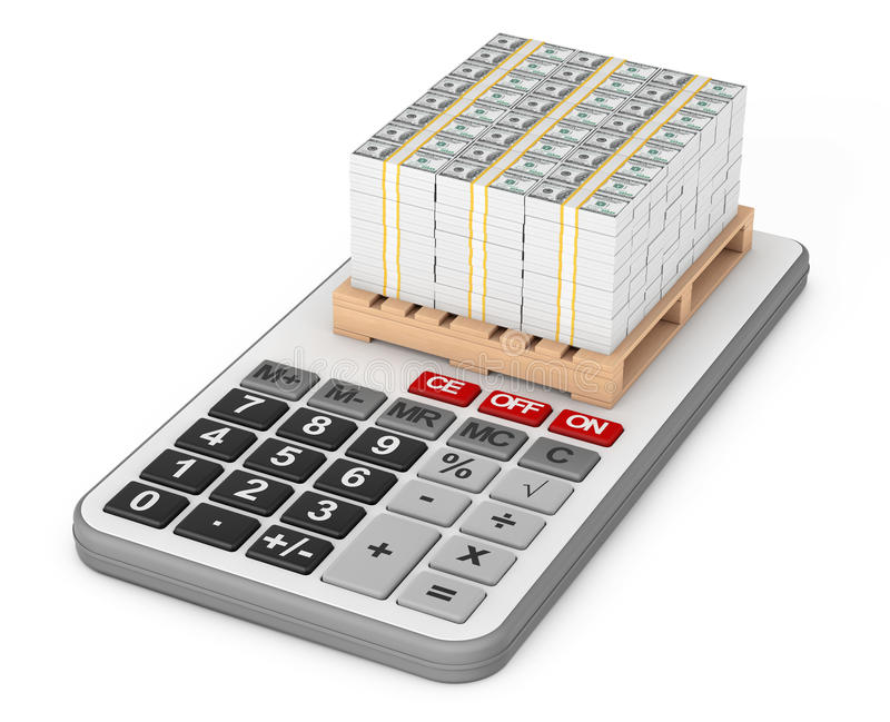 Stack Of Money over Calculator. 3d Rendering royalty free illustration