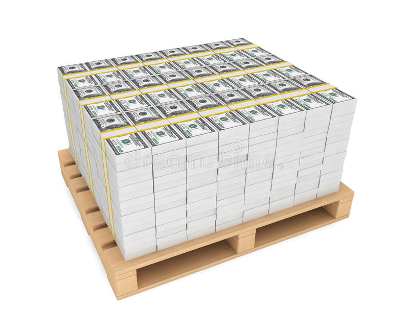 Stack of money with pallete. Stack of money with wooden pallete on a white background royalty free stock photos