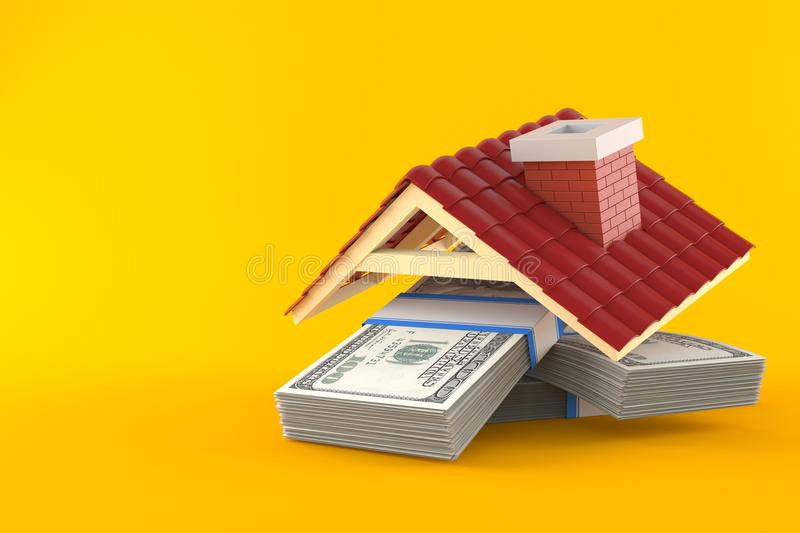 Stack of money with roof. Isolated on orange background vector illustration