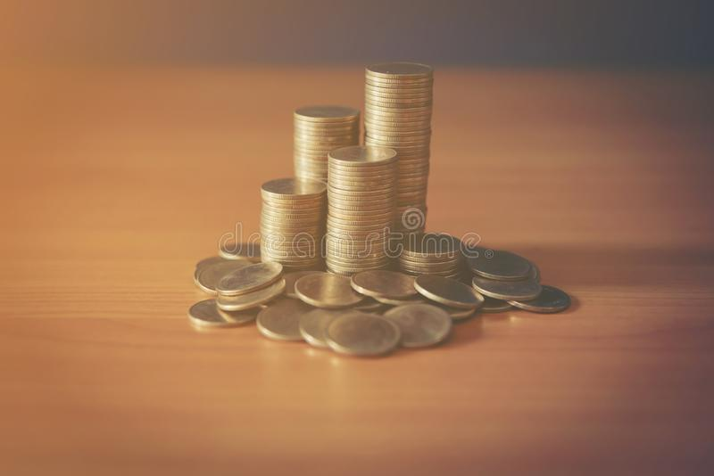Stack of money, rows of coins for finance and banking concept. Stack of money, rows of coins for finance royalty free stock photo