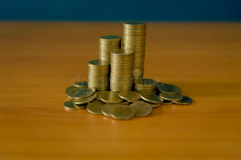 Stack of money, rows of coins for finance and banking concept. Stack of money, rows of coins for finance stock photography