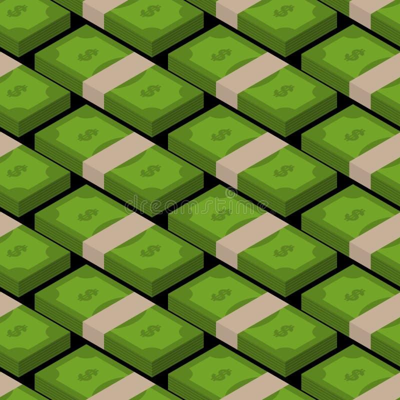 Stack of money seamless pattern. Cash background. tutu of dollar royalty free illustration