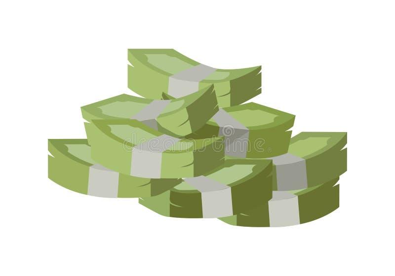 Stack of Money Vector Illustration Flat Design. stock illustration