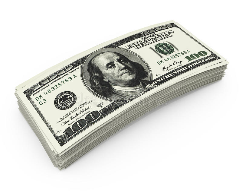Stack of money. On white isolated background royalty free stock image