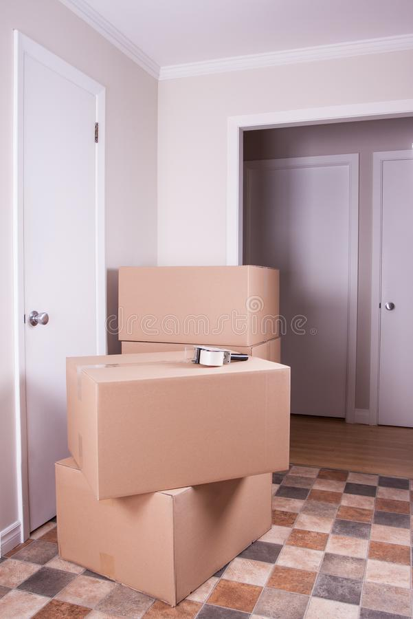 Stack of moving box in a house stock photo