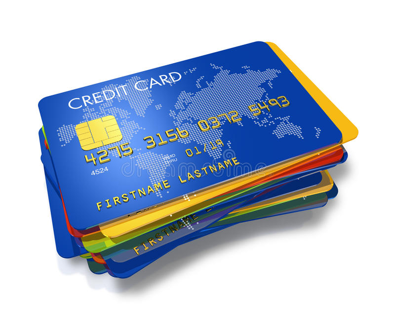 Stack of multi colored credit cards royalty free illustration