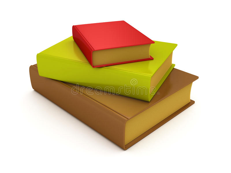 Stack of multi colored old vintage style books stock illustration