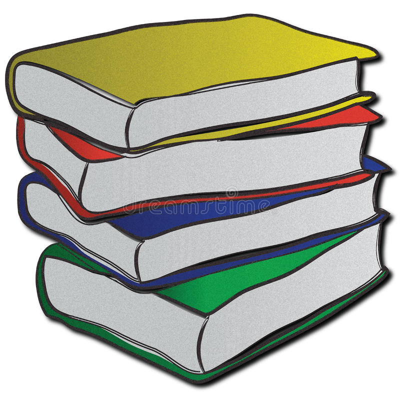 Stack of multi-coloured books. A hastily stacked stack of books with multi-coloured sleeves vector illustration