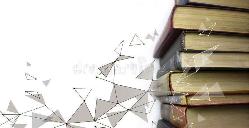 Stack of multicolored books. Old textbooks stacked on each other. Online education technology concept. E-learning. Training skill courses. Geometric polygonal stock illustration