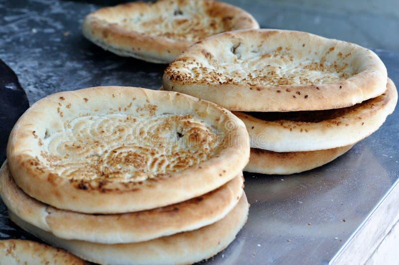 Stack of naan. A stack of China Xinjiang naan bread royalty free stock photos