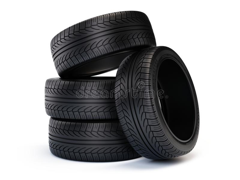 Stack of new car tires. Tires isolated on white background. 3d render stock illustration