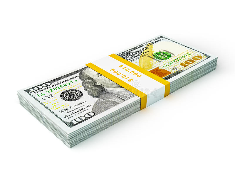 Stack of new new 100 US dollars 2013 edition banknotes (bills) s royalty free stock photography