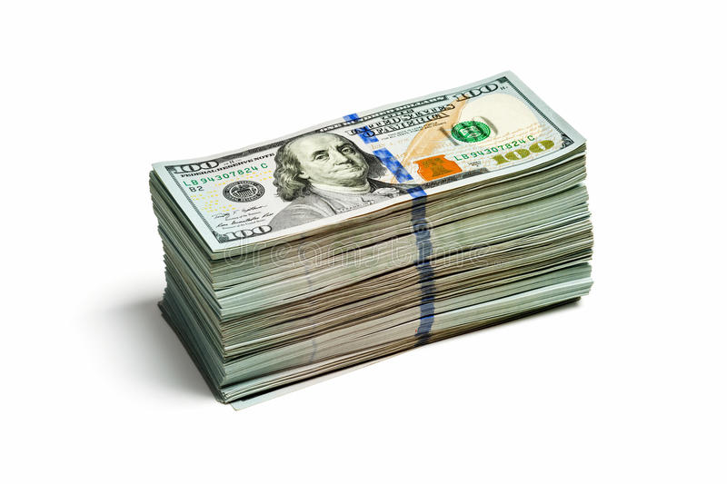 Stack of new 100 US dollars 2013 edition banknote stock photography