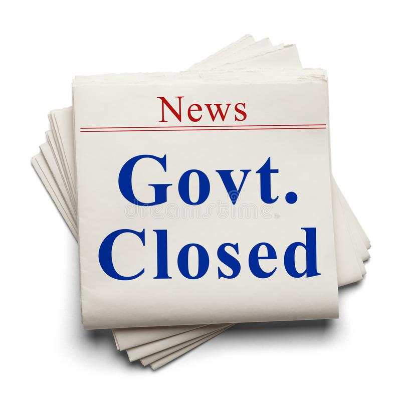 News Govt. Closed. Stack of News Papers with Govt. Closed Headline royalty free stock photos