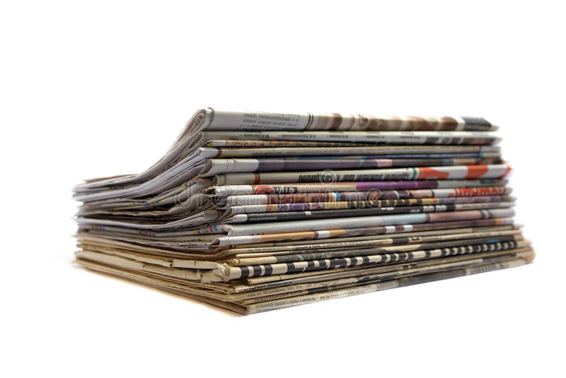 Download Stack of newspapers stock photo. Image of stacking, journalism - 12649172