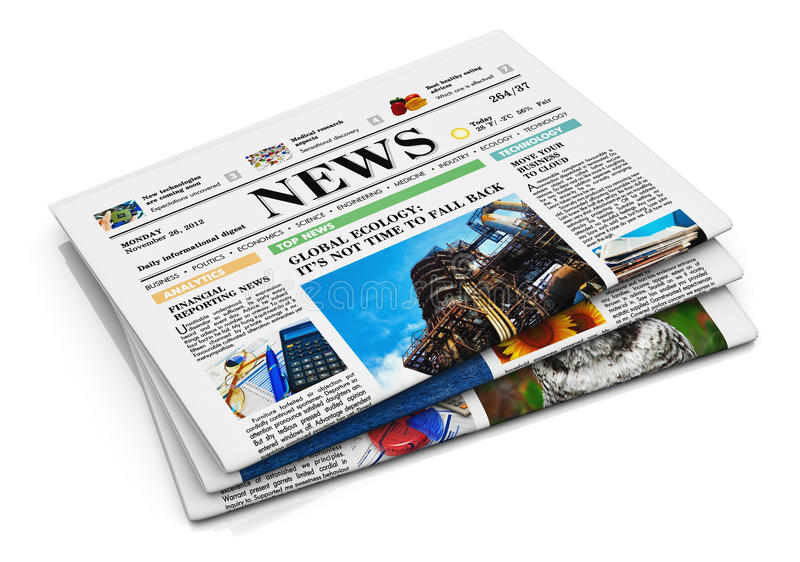 Stack of newspapers. With business news isolated on white background with reflection effect vector illustration