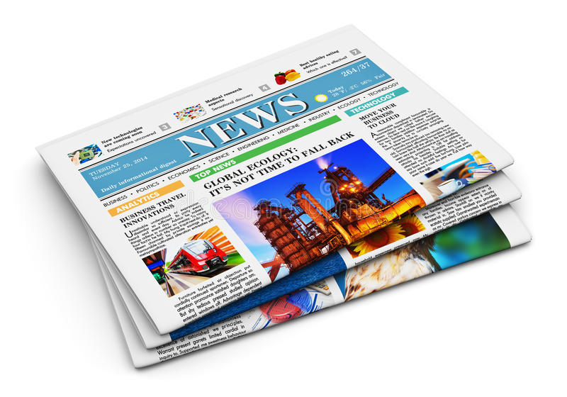Stack of newspapers. With business news isolated on white background royalty free illustration