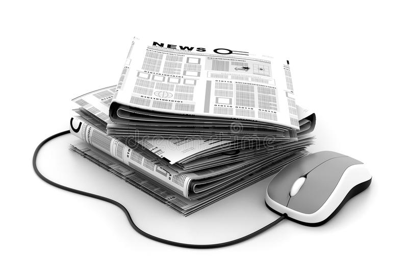 Stack of newspapers with mouse. 3d Stack of newspapers with mouse royalty free illustration