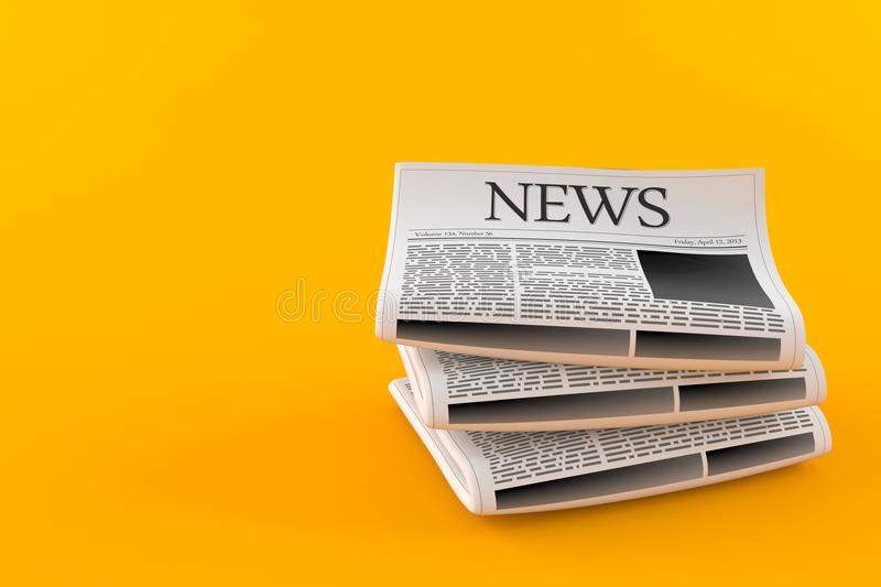 Stack of newspapers. On orange background royalty free illustration