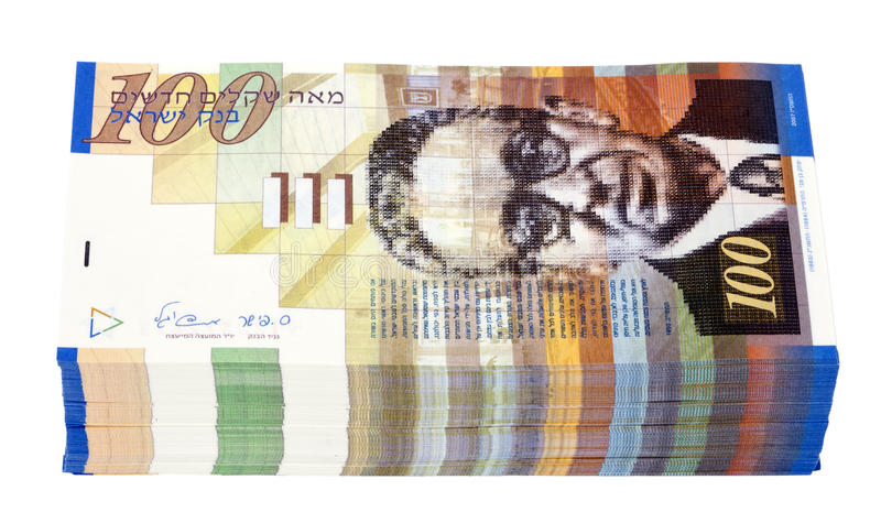 Isolated 100 NIS Bills Stack Royalty Free Stock Image