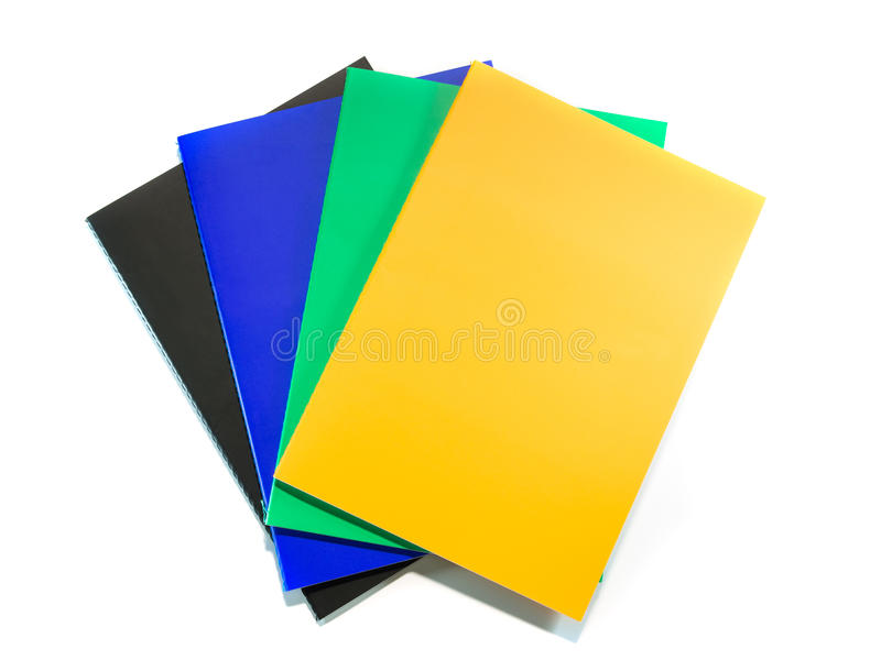Stack of notebooks. Isolated on white background stock photos