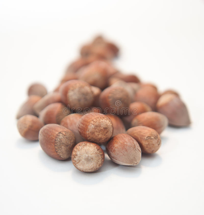 Stack of nuts on a white background royalty free stock photo