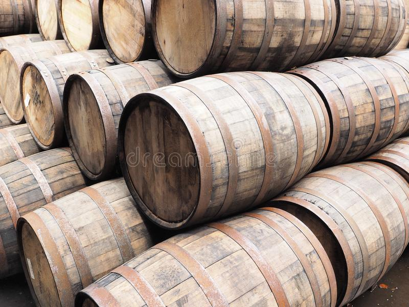 Stack of oak Whiskey barrels royalty free stock photography