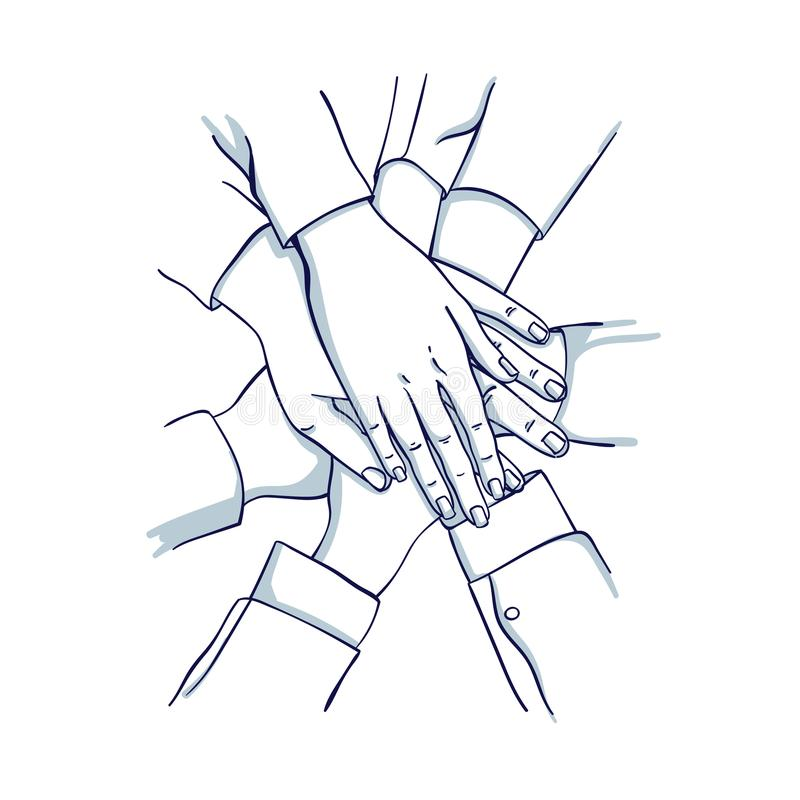 Free Stack Of Business Hands. Team Together. Royalty Free Stock Image - 109958816