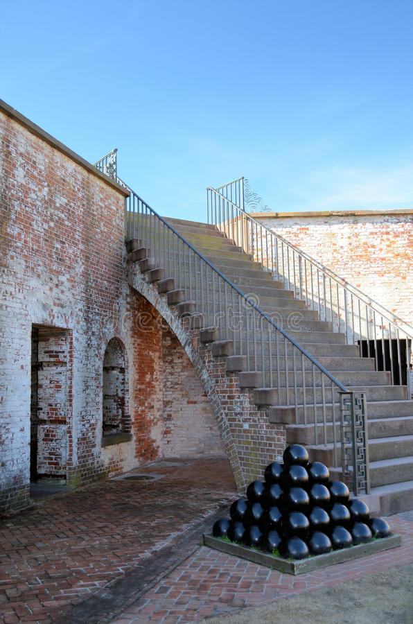 Free Stack Of Canon Balls Fort Macon NC Brick Stairs Stock Images - 28132654